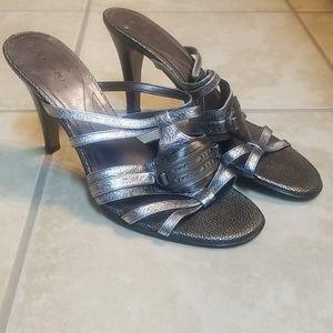 Tahari silver heels sandals sz 9 EUC